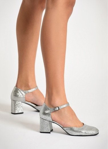 D by Divarese Topuklu Ayakkabı Gümüş